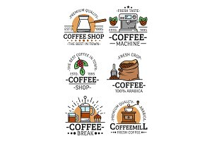 Coffee cups and beans vector icons