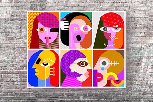 Six Faces vector illustration