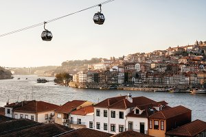 Old town of Porto on Douro River