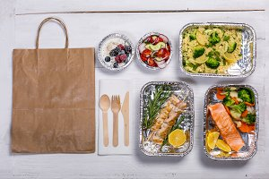Healthy food delivery concept -
