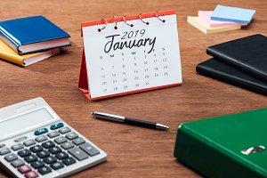 january 2019 calendar, calculator an