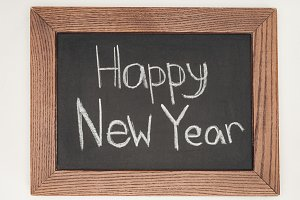 top view of 'happy new year' text on