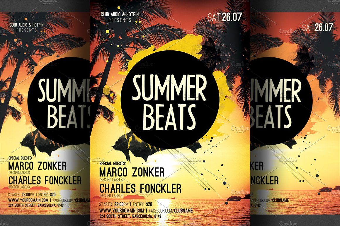 Summer Beats Party Flyer Template Templates Creative Market