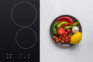 top view of fresh vegetables on plat