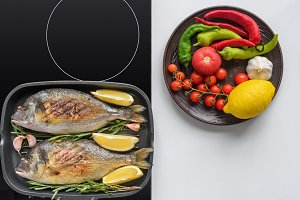 delicious fish with rosemary and lem
