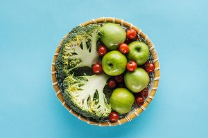 top view of vegetables and apples in