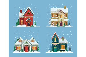 Buildings or houses decorated