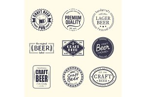 Set of isolated stickers for beer