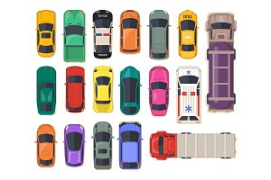 Top view on car, auto transport