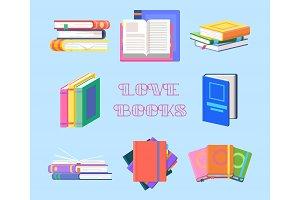 Textbook piles or book heap