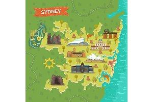 Map of Sydney with landmarks