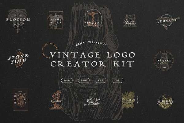 Templates: Nomad Visuals - Vintage Logo Creator Kit