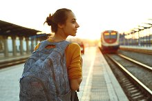 portrait of a young woman traveler by  in People