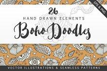 Boho Doodles Clipart & Pattern Set