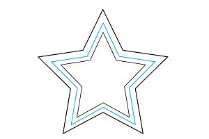 Star icon blue and black outlines