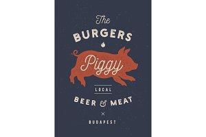 Piggy, pig, pork. Vintage label