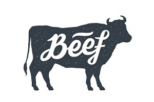 Cow, bull, beef. Vintage lettering