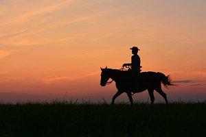Silhouette cowboy, wild west