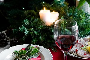 Festive table setting for holiday