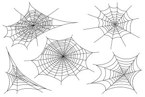 Web spider cobweb icons set. Outline