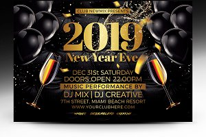 New Year 2019 Party Flyer - PSD