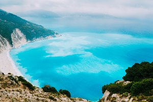 Azure water of Myrtos Beach