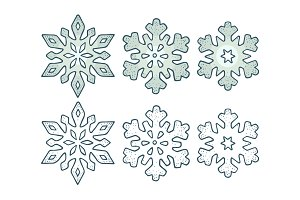 Set snowflakes with three different