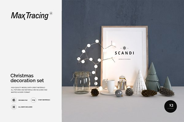 3D Models - Scandi - Christmas Decoration Set 01