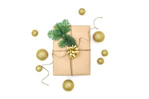 Wrapped gift golden Christmas decor