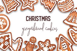 Watercolor Christmas Gingerbreads