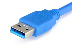 Usb 3.0 blue cable on white