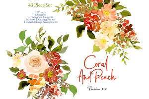 Coral and Peach Watercolor Clipart