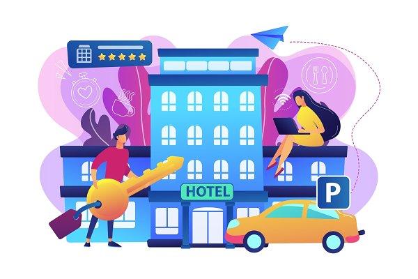 All-inclusive hotel concept vector
