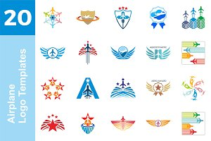 20 Logo Airplane Templates Bundle