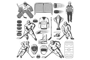 Ice hockey players, stick, puck