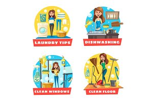 Window and floor cleaning, laundry