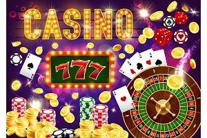 Gambling casino, roulette and poker