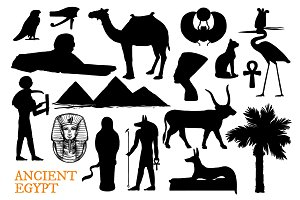 Ancient Egypt travel silhouettes