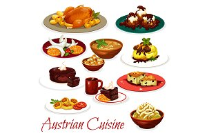 Austrian meat dishes and cakes