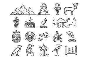 Ancient Egypt gods, travel symbols