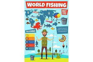Fishing sport infographic with fish