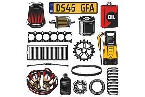Car spare parts, engine details