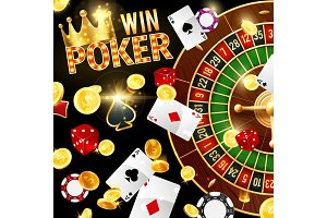 Casino and poker, roulette wheel