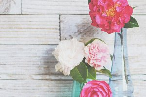 Flowers in vases styled photo