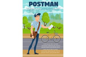 Postman with mail, letter and bike
