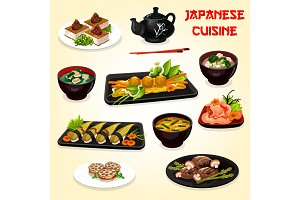 Japanese sushi, meat and seafood