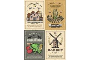 Farming barn, field and animals