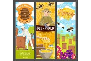 Beekeeper, honey and bee on apiary