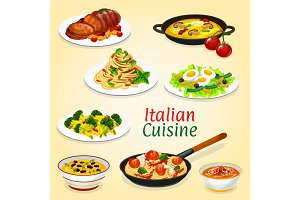 Italian dishes of pasta, meat, fish