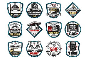 Car spare parts, oil, battery icons